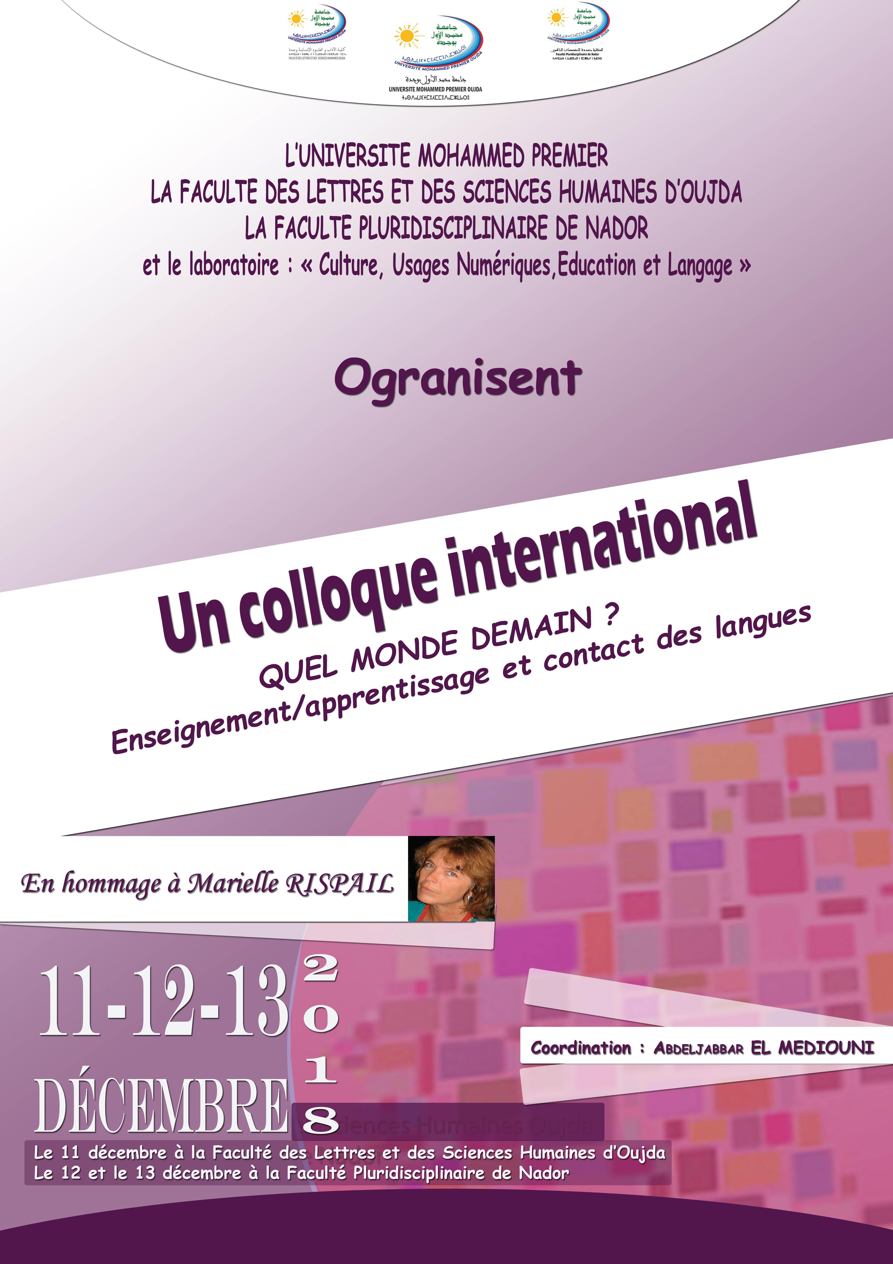 COLLOQUE INTERNATIONAL « L'ENSEIGNEMENT-APPRENTISSAGE ET L'AMÉNAGEMENT DES LANGUES »