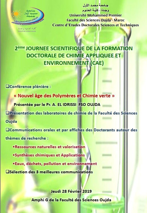 2nd Scientific day of the PhD program in Applied Chemistry and Environment