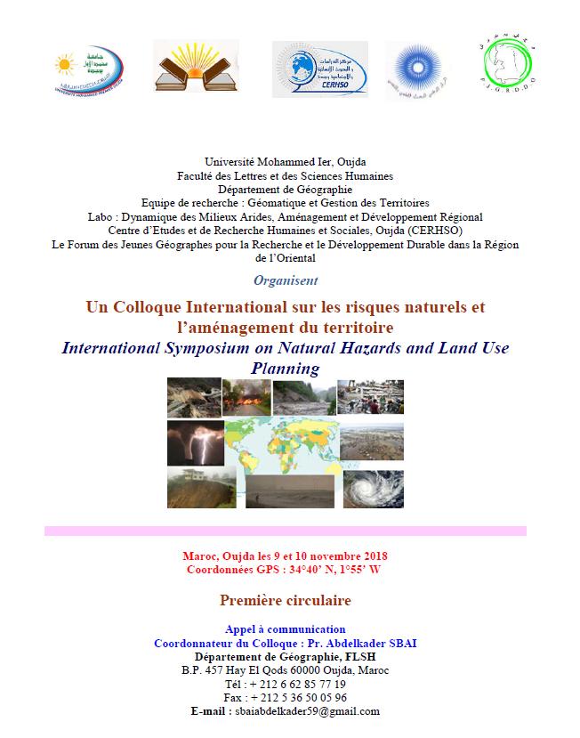 Colloque International sur les risques naturels et l'aménagement du territoire