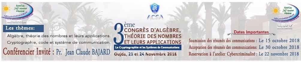 3ème édition du Congrès d'Algèbre, Théorie des Nombres et leurs Applications CATNA'18