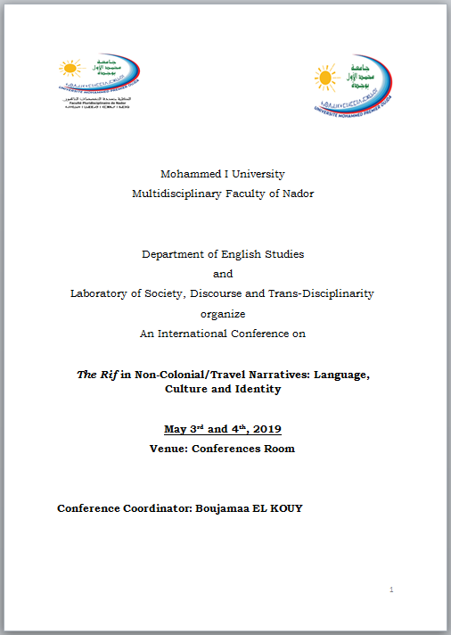 International Conference on  The Rif in Non-Colonial/Travel Narratives: Language, Culture and Identity