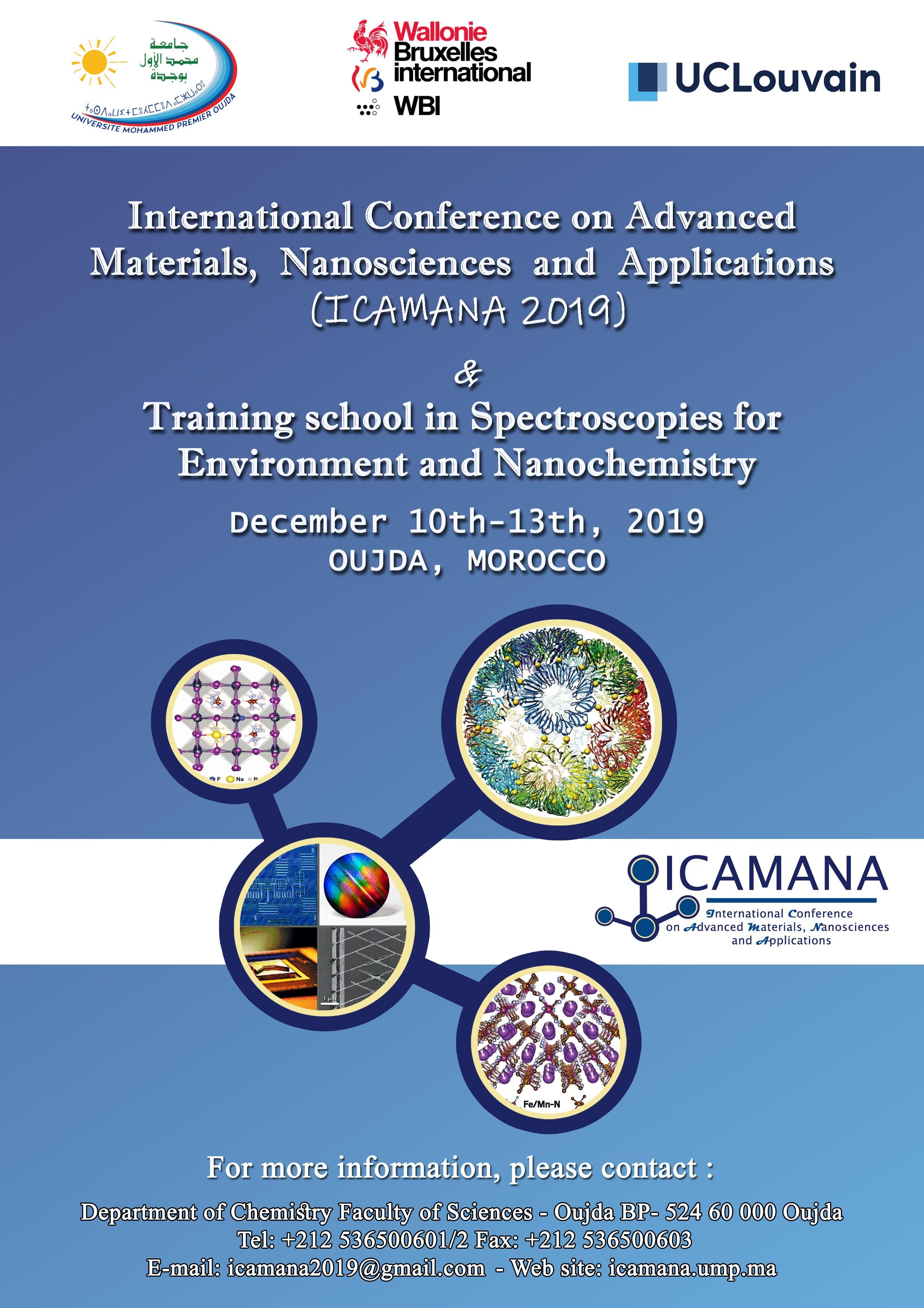 Congrès International sur les Matériaux Avancés,  Nanosciences  et Applications  (ICAMANA 2019)