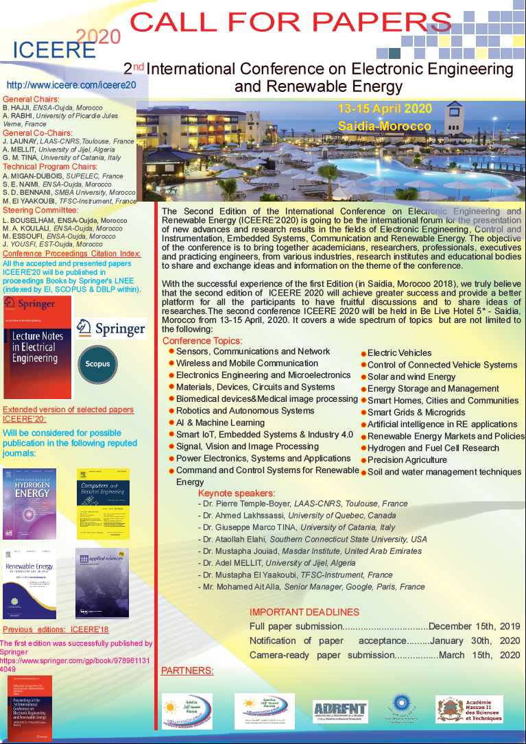 2nd International Conference on Electronic Engineering and Renewable Energy  Springer  & Elsevier Conference